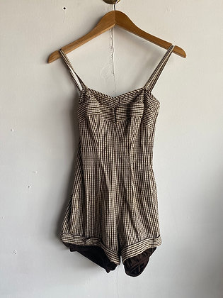 1940's/50's Brown Gingham One Piece Swimsuit