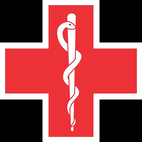 MED#004 RED CROSS ROD OF ASCLEPIUS