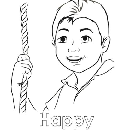 Coloring Sheet - Happy