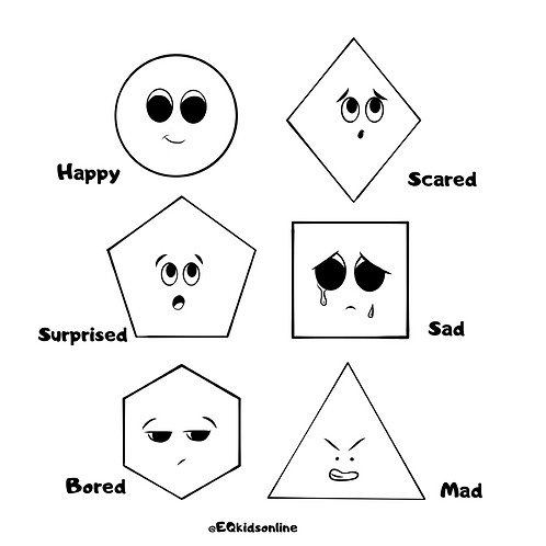 Shapes & Emotions Coloring Page