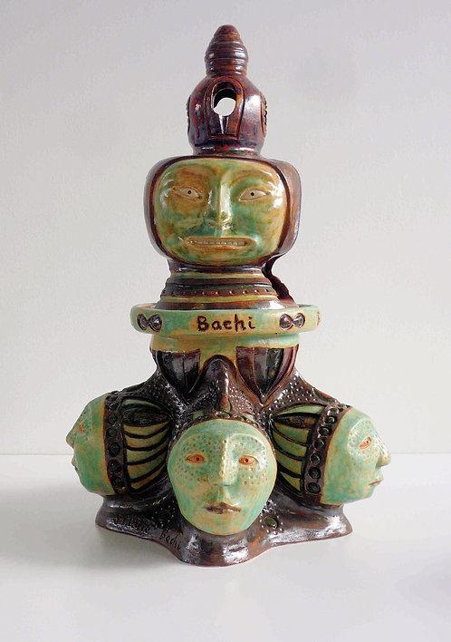 青銅釉六面香炉
