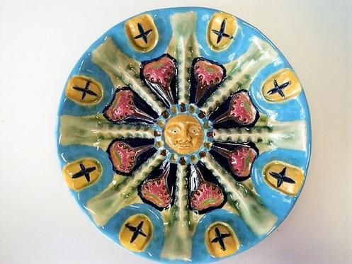 トルコ釉八花弁黄顔皿