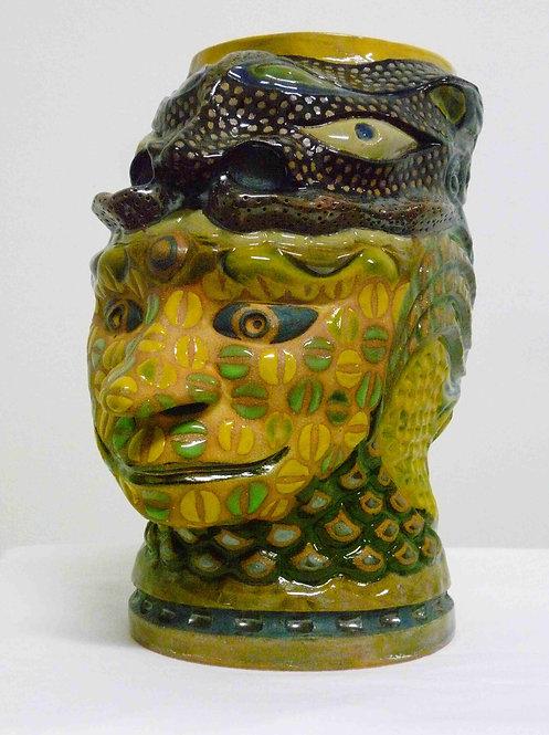 黒茶釉獅子頭紋様鉢