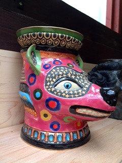 小豆赤紋様霊獣鉢