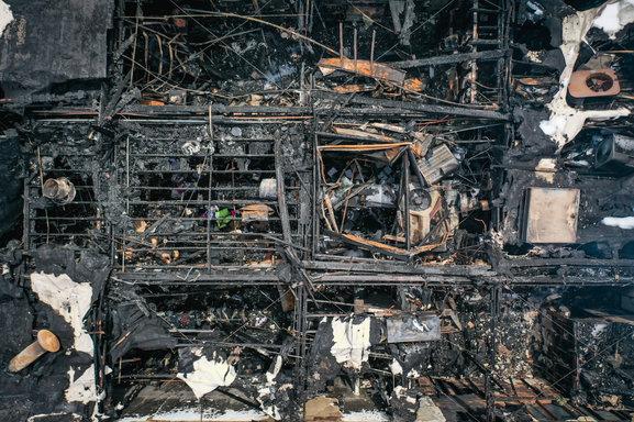 ariel shot building burnt close up.jpg