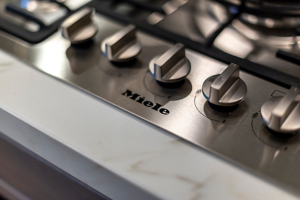Miele hob inset into worktop in kitchen renovation