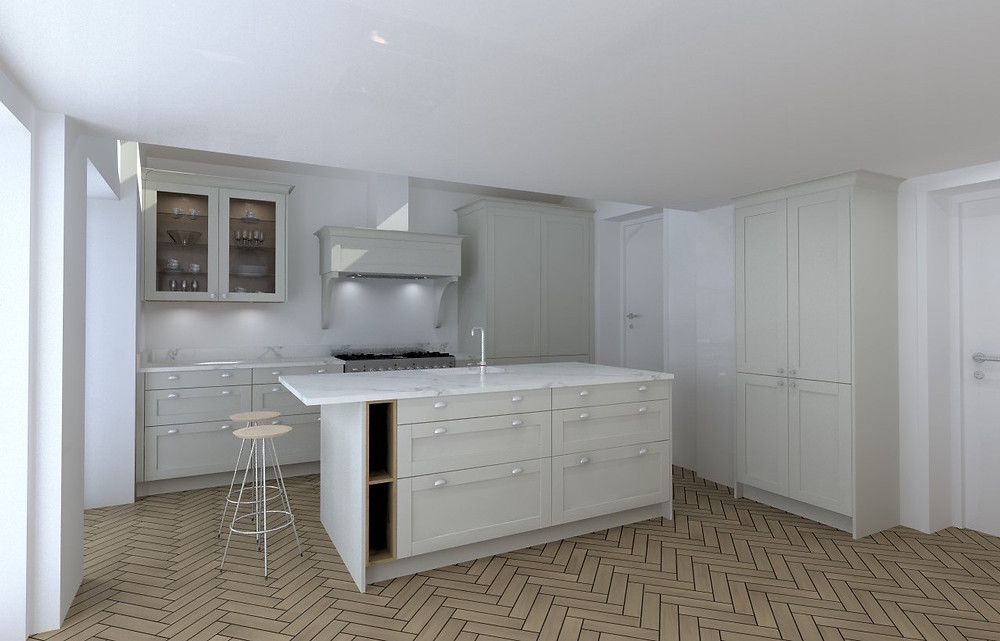 Rendered visual showing how the finished kitchen design will look