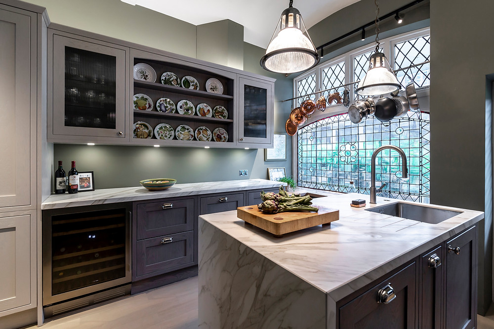 Kitchen island and open display shelving with Provence plates