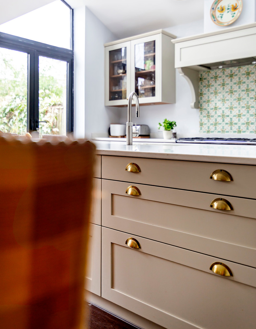 Bespoke cutlery drawer and pan drawers on dining side of kitchen island