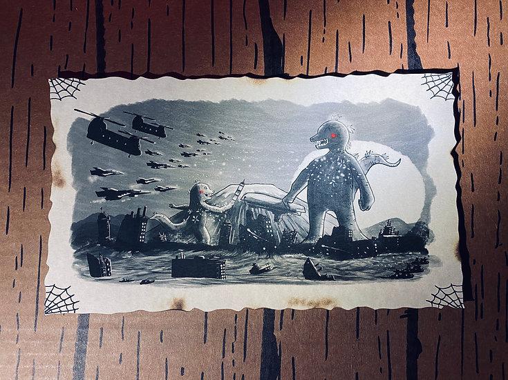 "Glow in the Dark ""Kaiju Aftermath"" Print"