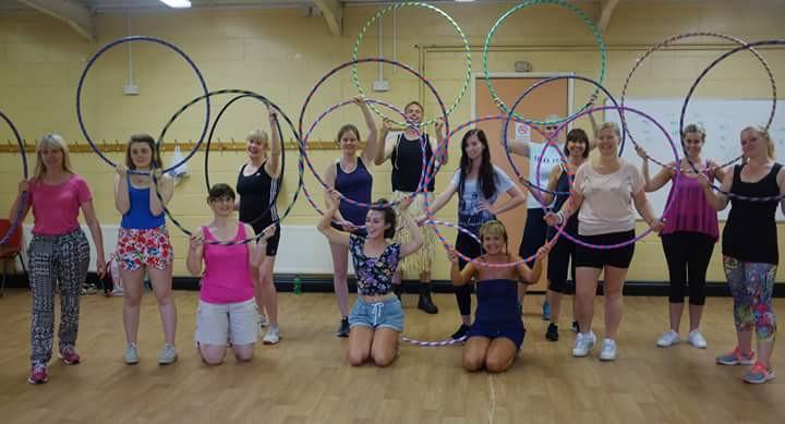 Group photo at a hula hoop birthday party