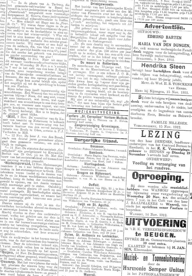 20 november 1912 | Oprichting fanfare 'St. Jan'