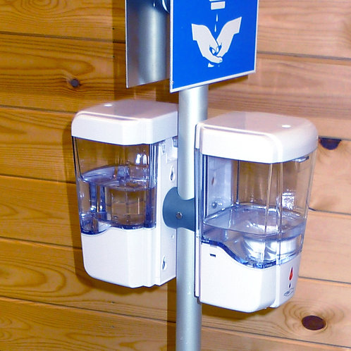 Double Sided Hand Gel Dispenser at the same height with Signage