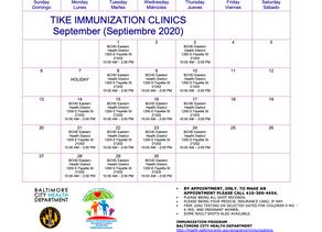 TIKE IMMUNIZATION CLINICS - September 2020