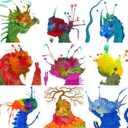 Splotch Monster Face series