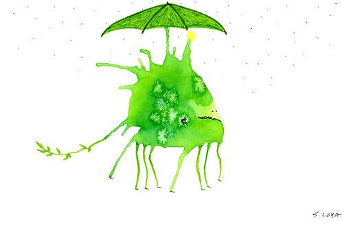Little Green Umbrella Monster