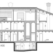 La sezione della villa, dalla grotta fino al tetto