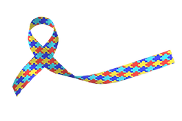 World Autism awareness and pride day with Puzzle pattern ribbon isolated on white backgrou
