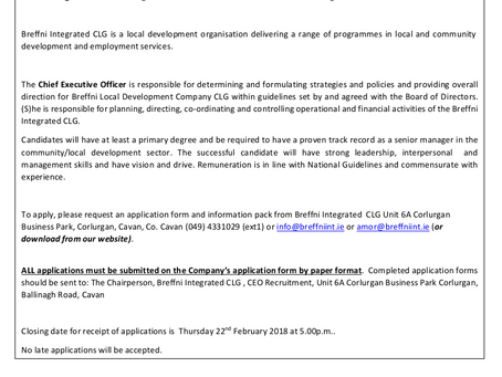 Breffni Integrated CLG is seeking to recruit new CEO