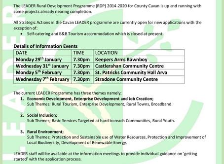 Cavan Leader Programme 2014 – 2020 Public Information Events