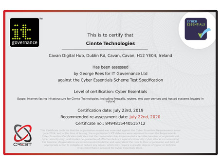 Cinnte Technologies Achieves IT Security Cyber Essentials Award- Global Industry Standard in IT Secu