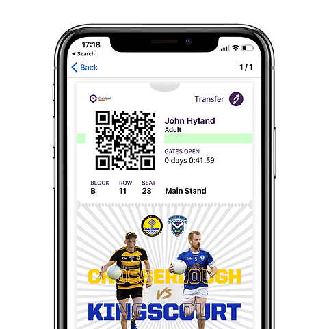 ClubSpot Tickets being diplayed on a iPhone X