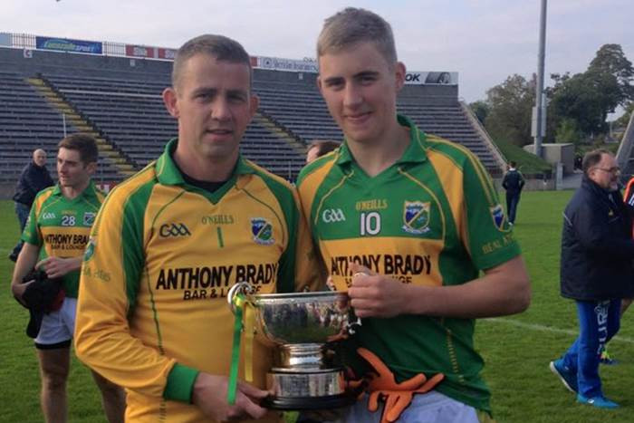 Eamonn Brady and son David after capturing the IFC title with Ballyhaise