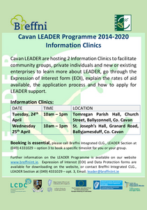 Cavan LEADER Programme 2014 – 2020 Information Clinics