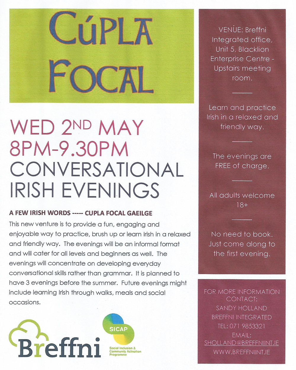 Conversational Irish evening Wed 2nd May 8-9.30pm, Blacklion
