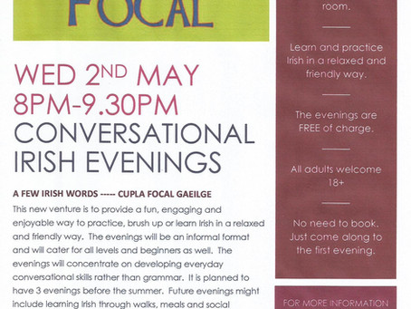 Conversational Irish evening Wed 2nd May 8-9.30pm, Blacklion