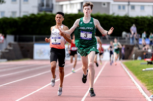 Cian winning the Schools International 1500m final