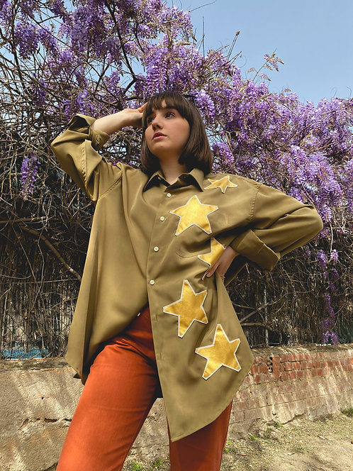 Camisa Golden stars green olive