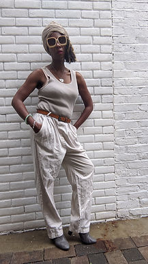Chic 90s beige jersey and cotton jumpsuit Tall