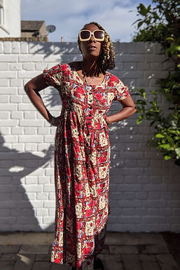 vintage 80s MONSOON Rose Print dress UK 12 14