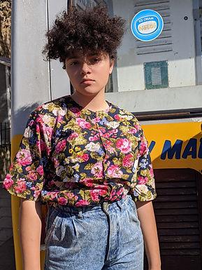 90s floral print blouse Medium