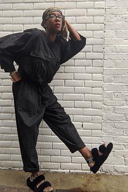 Vintage 80s Black jumpsuit L