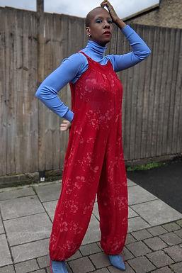 Stunning 1970s Vintage red jumpsuit Romper SM