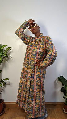 Cool 80s Quilted Floral Print Coat SM