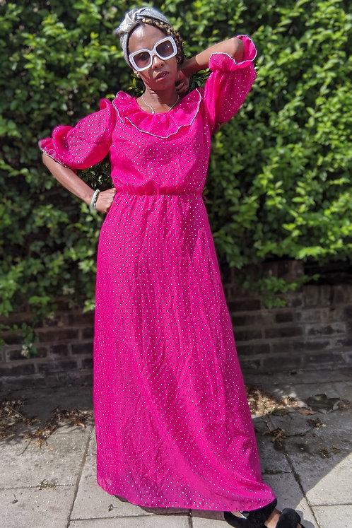 Stunning 70s maxi dress hot pink with gold polka dots UK 10 12