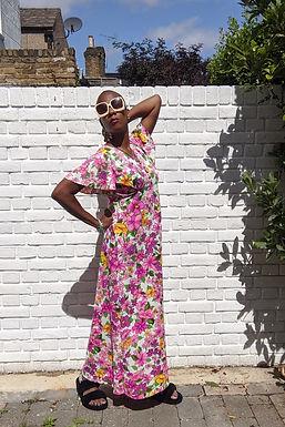 Stunning 70s Pink Tropical Print Maxi dress M