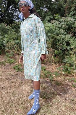 1960s Mint tones Arty Geometric Print Smock dress L