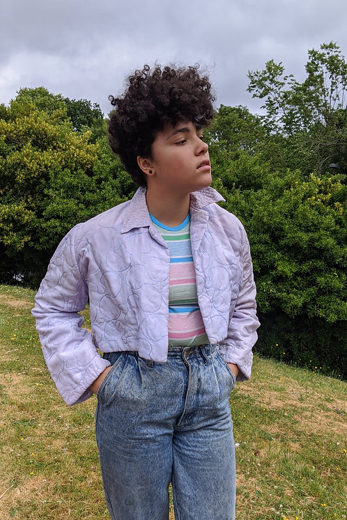 vintage 50s lilac quilted cropped jacket