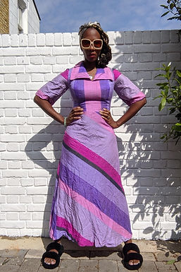 Stunning 70s silk patchwork style maxi dress XS
