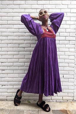 Vintage Purple 70s Afghan Embroidery  maxi dress M