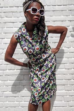 1960's Daisy Print dress uk 8 uk 10