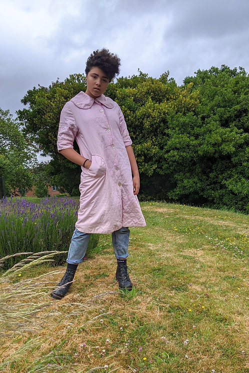 vintage pink 50's quilted house coat