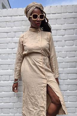 Vintage 1970s Beige Midi dress S XS