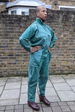 Vintage 70s 80s Green Cotton & Suede jumpsuit SM