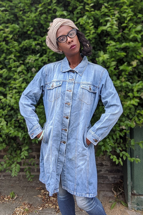 vintage 90s denim dress coat L