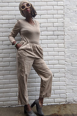 90s beige jumpsuit small